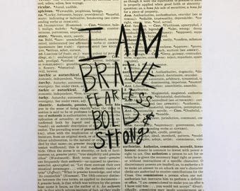 Brave Quote Book Page Art