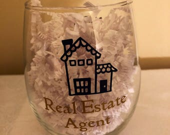 Realtor Wine Glasses-Real Esate Agent Gift-thank you for realtor