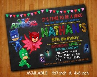 PJ Masks Invitations PJ Masks Birthday Party Invitation Pj Masks Digital File Pj Masks Printable