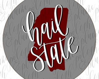 "Mississippi State Hail State 3"" Game Day Buttons Pins"