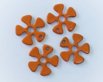 10 Hand Painted Orange Flower Charms 20mm