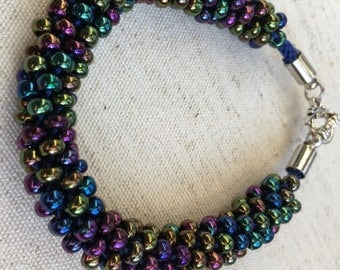 Braided Beaded Braclet//Metallic Rainbow//Gifts//Size Extra Small