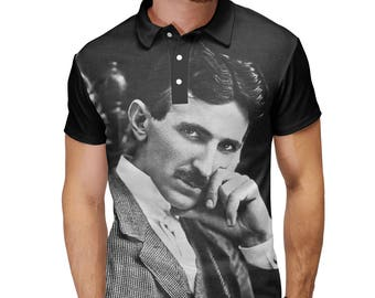 Nikola Tesla Science Nerd Inventor Lightning Electricity Engineer T-Shirt Polo Tank Top Sleeveless
