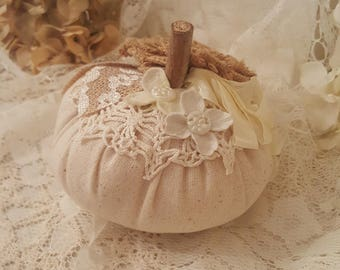 Romantic Linen and Lace Fall Pumpkin - Small