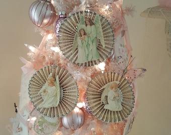 Vintage Shabby Chic Ivory Glitter Victorian Angel Rosette Christmas Ornaments Set of 3 Vintage Silver Glitter Angel Paper Rosette Ornaments