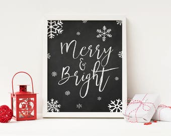 Merry and Bright - Christmas Printable - Christmas Decorations - Christmas Gifts - Christmas Decor - Stocking Stuffer - Christmas Chalkboard
