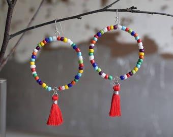 Carla Tassel Earrings, Multi-Colored with Silver, Handmade Beaded