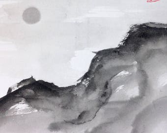 Moon series mountain II / Sumie Japanese ink painting