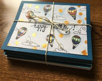 Set of 10 Hot Air Ballon Happy Birthday Cards with Envelopes