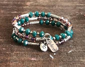 Handmade beaded memory wire bracelet.