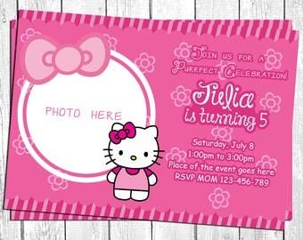 Hello Kitty Invitation. Hello Kitty Birthday Invitation. Hello Kitty Birthday Card, Hello Kitty Party, Hello Kitty Printable