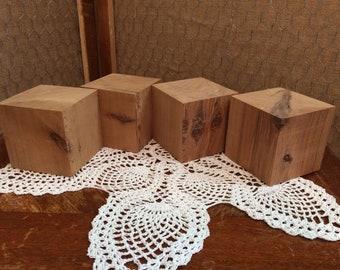 Unfinished Cedar Blocks/Set of 4