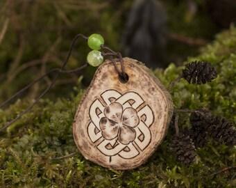 Handmade Celtic knot pendant gift for boyfriend.  Celtic jewelry wood burning. Clover lucky charm necklace celtic knot. Nordic wood jewelry