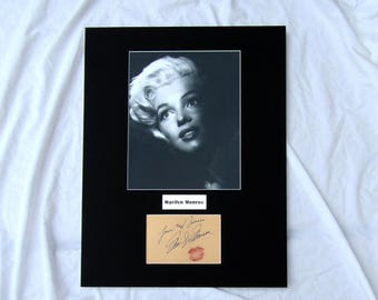 vintage Marilyn Monroe Autograph Autographed Signed Display Art Piece black and white photograph photo artwork