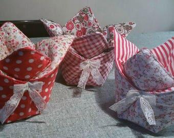 Pretty basket fabric origami style