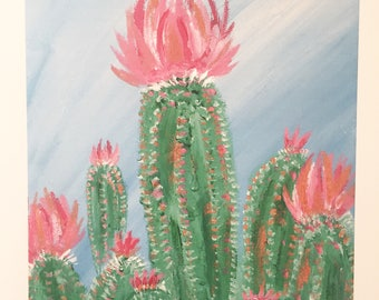 Pickly in Pink -- print of acrylic painting of pink cactus