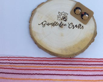 Round Fabric Covered Button Earrings - autumn colours