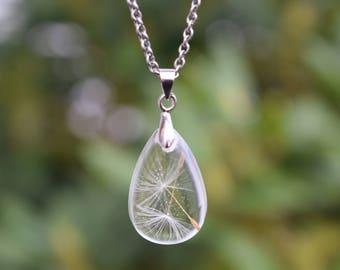 Real Dandelion Seed Necklace / Dandelion Necklace / Dandelion Wish Pendant / Nature Necklace / Wish Necklace