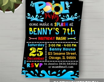 Pool Party Invitation, Pool Party Birthday Invitation, Pool Party, Pool, Pool Party Party Favors, Pool Party Birthday, Pool Party Printables