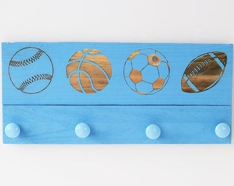 Engraved Pallet Wood Sign- Sports Themed Coat Rack | Hanger | Baseball | Basketball | Soccer | Football | Laser | Recycled | Rustic
