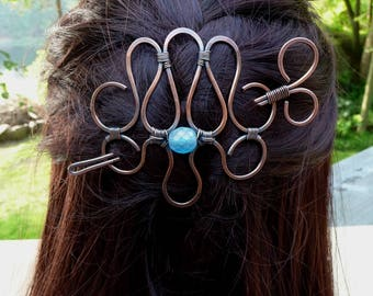 hair slide, french barrette hair accessories for women, hair clips, hair barrette with stick, wire wrap jewelry handmade hair pin barettes