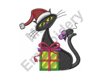 Cat - Machine Embroidery Design, Christmas Cat