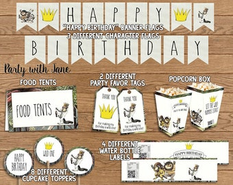 Where The Wild Things Are Party Decoration Pack Kit, Happy Birthday Banner Flags, Thank  Tags Cupcake Toppers Food Tent Bottle Label Bunting