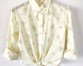 70s Button Top, Vintage blouse, Ivory, Size Medium size 8