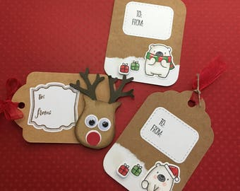 Christmas paper tags. Rudolph tags. Polar bear tags