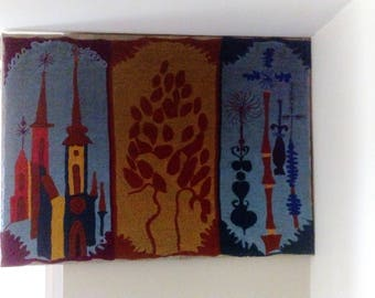 Mid Century Danish Modern Hand woven and stitched wool fiber/textile Art