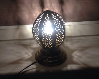 Moroccan lantern Hang or Table HANDMADE BRASS Egg Shaped Lamp Ethnic Made in Fez city