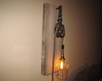 Antique Iron Barn Pulley Wall Sconce