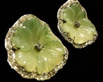 Green Jade Blossom Earrings