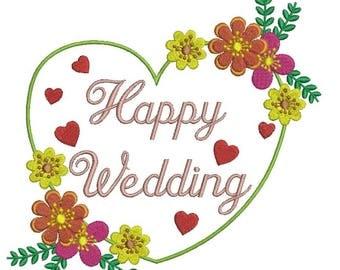 Heart Frame Flower embroidery machine designs, heart wedding pattern,married,wedding