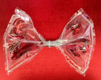 Red sequins hair bow, red sequins see-thru bow, red hair bow, giant hair bow, giant red hair bow, clear hair bow, sequins hair bow, hair bow