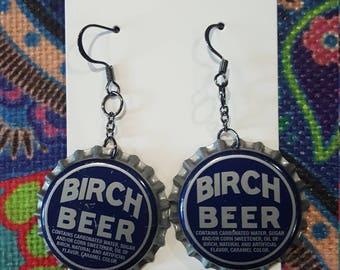 Birch Beer Bottle Cap Earrings