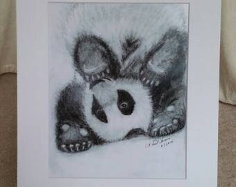 Panda, Playful, Upside Down, Animal, Bear, Young, Fun, Wild, Zoo, Print, Graphite, Black and White, Artwork, Drawing