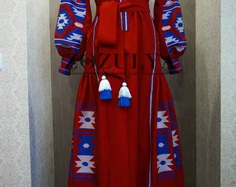 HOT PRICE! Red Ukrainian embroidered linen dress vyshyvanka with blue and white embroidery /Folk/Sarafan/Arabian Thobe