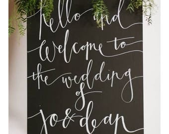 Wooden chalk board welcome signs- Wedding welcome sign- Personalised wedding sign- Wooden Welcome sign-chalk board