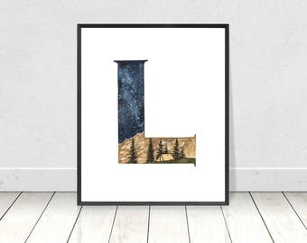 Printable Letter L Alphabet Watercolor Art Print- Wilderness Woodland Nursery Room Decor- ABC Alphabet Camping Art For Nursery Room