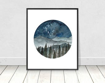Watercolor Mountain and Pine Tree Painting- Art Print- Printable Home Decor- Wall Art- 8X10 -16X20 Printable Painting- Instant Download