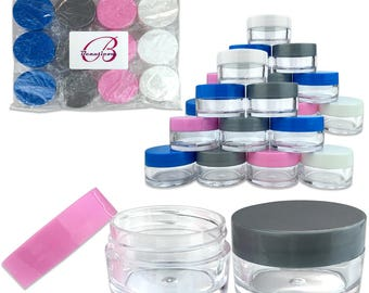 20 Gram 20 ml Round Refillable Clear Acrylic Jar Containers with White Blue Pink and Gray Lids - For Makeup Cosmetic Beauty Travel Samples