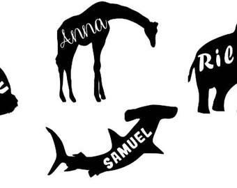 Animal silhouette decal