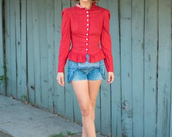 70s Button Blouse- Red Ruffles Extra Small XS S