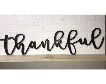 Thankful Word Wood Cut Out Farmhouse Mantle Decor Wall Art