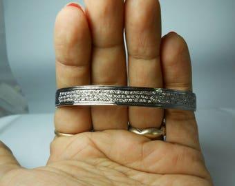 Boho style 2.90 cts. pave diamonds oxidized sterling silver wedding bangle bracelet open cuff