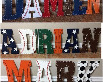 11in Sports letters, basketball, soccer, football, nursery decor, baseball, nursery decor, wooden letters