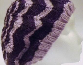 Woman's Purple Striped Slouch Beanie S/M