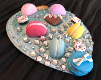 Teardrop fascinator with macarons and sweets