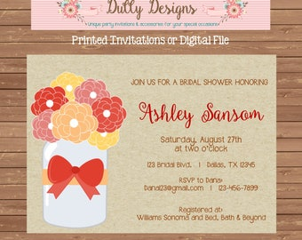 Mason Jar Bridal Shower Invitation, Floral Bridal Shower Invite, Bridal Shower Invitation, Floral Wedding Shower Invite, Wedding Shower